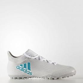A0272 รองเท้าฟุตบอล 100ปุ่ม สนามหญ้าเทียม ADIDAS X TANGO 17.3 TF - White/Energy Blue