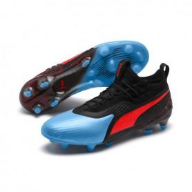 P2550 รองเท้าฟุตบอล รองเท้าสตั๊ด PUMA ONE 19.1 evoKNIT FG/AG-Bleu Azur/Red Blast