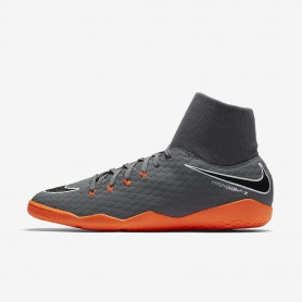N0377 รองเท้าฟุตซอล Hypervenom Phantom III Academy Dynamic Fit IC - Grey/White/Total Orange