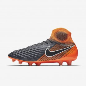 N0382 รองเท้าสตั๊ด รองเท้าฟุตบอล NIKE Magista Obra II Elite Dynamic Fit FG -Dark Grey/Total Orange/White/Black