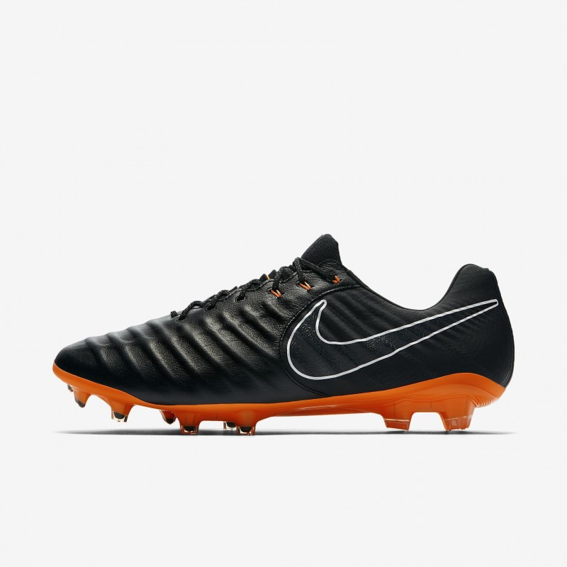 N0388 รองเท้าสตั๊ด รองเท้าฟุตบอล NIKE Tiempo Legend VII Elite FG - Black/Black/White/Total Orange