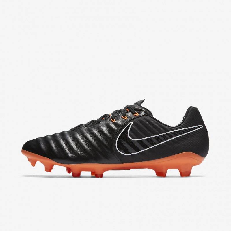 N0389 รองเท้าสตั๊ด รองเท้าฟุตบอล NIKE Tiempo Legend VII Pro FG - Black/Black/White/Total Orange