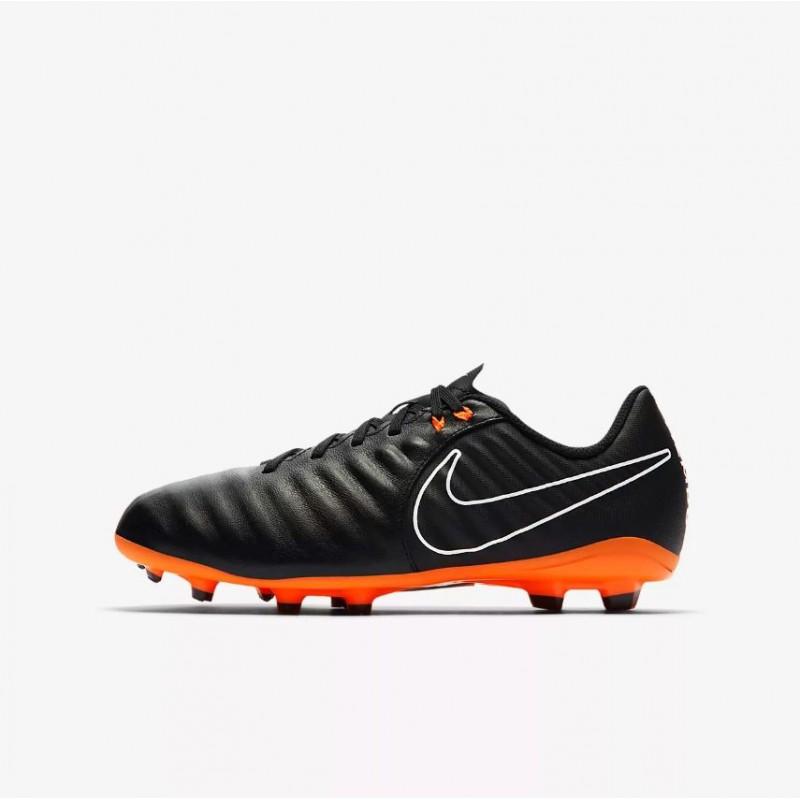 N0437 รองเท้าฟุตบอลเด็ก รองเท้าสตั๊ดเด็ก NIKE JR TIEMPO LEGEND 7 ACADEMY FG -BLACK/ORANGE