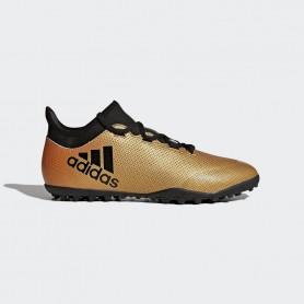 A0043 รองเท้าฟุตบอล 100ปุ่ม สนามหญ้าเทียม ADIDAS X 17.3 TF -Gold-Metallic