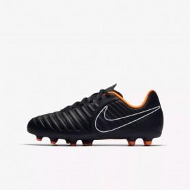N0438 รองเท้าฟุตบอลเด็ก รองเท้าสตั๊ดเด็ก NIKE JR. TIEMPO LEGEND CLUB VII FG-Black/Black/White/Total Orange