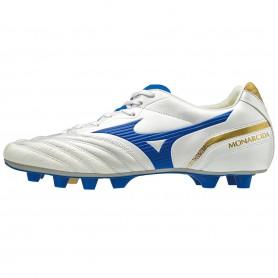 M3658 รองเท้าฟุตบอล รองเท้าสตั๊ด MIZUNO MONARCIDA JAPAN-WHITE/WAVE CUP BLUE/GOLD