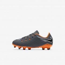 N0452 รองเท้าสตั๊ดเด็ก รองเท้าฟุตบอลเด็ก NIKE HYPERVENOM PHANTOM III ACADEMY FG JR. - Dark Grey/Orange