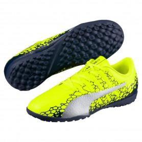 P0465 รองเท้าฟุตบอลเด็ก รองเท้า 100 ปุ่มเด็ก PUMA evoPOWER Vigor 4 GRAPH TT Jr -Yellow/Silver/Blue