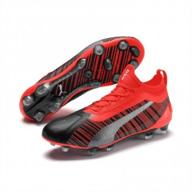 P4003 รองเท้าฟุตบอล รองเท้าสตั๊ด PUMA ONE 5.1 FG/AG-Puma Black/Nrgy Red/Puma Aged Silver