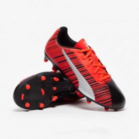 P4068 รองเท้าฟุตบอลเด็ก รองเท้าสตั๊ดเด็ก PUMA ONE 5.4 FG/AG JR-BLACK/NRGY RED/PUMA WHITE
