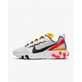 N4362 Men's Shoe Nike React Element 55-White/Bright Crimson/University Gold/Black