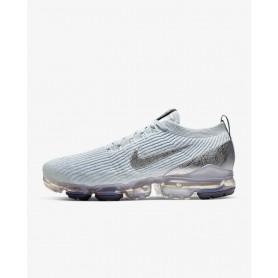 N4363 Men's Running Shoe Nike Air VaporMax Flyknit 3-White/Pure Platinum/Dark Grey/Metallic Silver