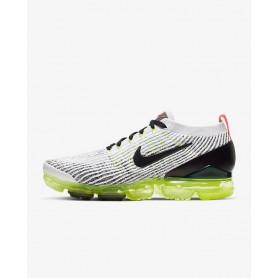 N4364 Men's Running Shoe Nike Air VaporMax Flyknit 3-White/Volt/Bright Crimson/Black