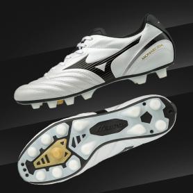 M0541รองเท้าฟุตบอล รองเท้าสตั๊ด MIZUNO MONARCIDA 2 JAPAN -Pearl/Black/Gold