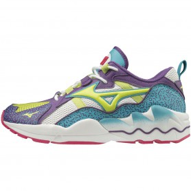 M4490 Sneaker MIZUNO WAVE RIDER 1 UNISEX-WHITE/LIME PUNCH/PANSY