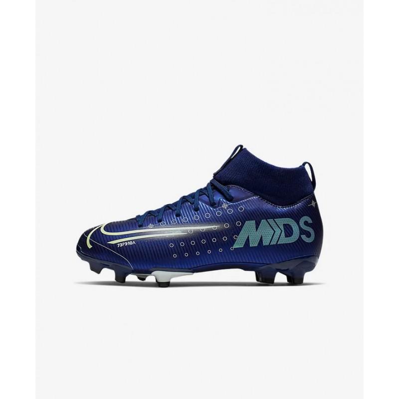 N4535 รองเท้าสตั๊ดเด็ก รองเท้าฟุตบอลเด็ก Nike Jr. Mercurial Superfly 7 Academy MDS MG-Blue Void/White/Black/Metallic Silver