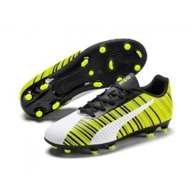 P4558 รองเท้าฟุตบอลเด็ก รองเท้าสตั๊ดเด็ก PUMA ONE 5.4 FG/AG JR- Puma White/Black/Yellow Alert