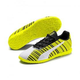 P4560 รองเท้าฟุตซอลเด็ก Puma ONE 5.4 IT Jr-Puma White/Black/Yellow Alert