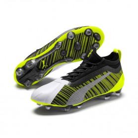 P4567 รองเท้าฟุตบอล รองเท้าสตั๊ด PUMA ONE 5.1 FG/AG-White/Black/Yellow Alert