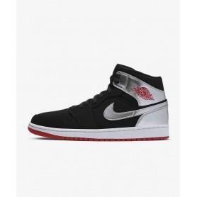 N4618 Nike Air Jordan 1 Mid-Black/Metallic Silver/White/Gym Red