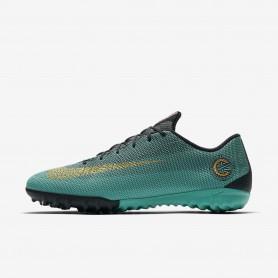 N0599 รองเท้าฟุตบอล 100ปุ่ม สนามหญ้าเทียม Nike MercurialX Vapor XII Academy CR7 TF -Clear Jade/Metallic Vivid Gold/Black