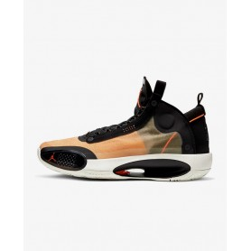 N4786 Basketball Shoe Nike Air Jordan XXXIV-Amber Rise/Black/Sail/Metallic Silver