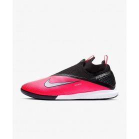 N4874 Indoor Court Football Shoe Nike React Phantom Vision 2 Pro Dynamic Fit IC-Laser Crimson/Black/Metallic Silver