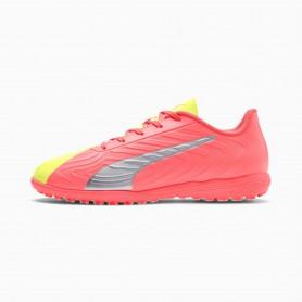 P5138 รองเท้าฟุตบอลเด็ก รองเท้า 100 ปุ่มเด็ก PUMA ONE 20.4 OSG TT- Peach-Fizzy Yellow-Silver