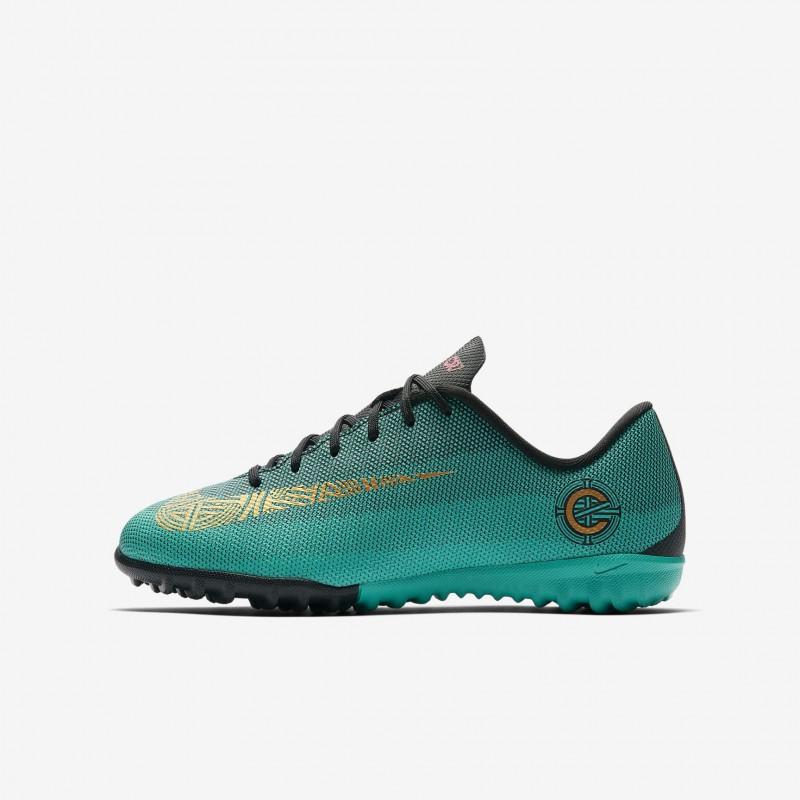 N0664 รองเท้าฟุตบอลเด็ก 100ปุ่ม สนามหญ้าเทียม Nike Jr. MercurialX Vapor XII Academy CR7 TF -Clear Jade