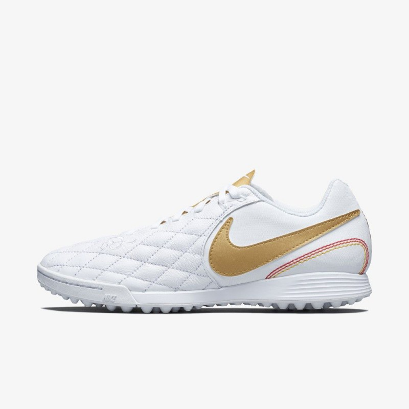 N0667 รองเท้าฟุตบอล 100ปุ่ม รองเท้าสนามหญ้าเทียม Nike TiempoX Ligera IV 10R TF -white