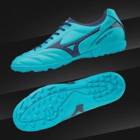 M0702 รองเท้าฟุตบอล 100ปุ่ม สนามหญ้าเทียม MIZUNO Monarcida 2 FS AS-Aquarius / Blue Depths