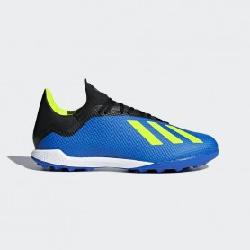 A0817 รองเท้าฟุตบอล 100ปุ่ม สนามหญ้าเทียม ADIDASX Tango 18.3 TF -Blue / Solar Yellow