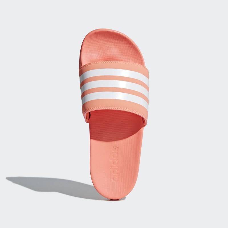A0887 รองเท้า ผู้หญิง Adidas Adilette Cloudfoam Plus Stripes Slides-chalk coral