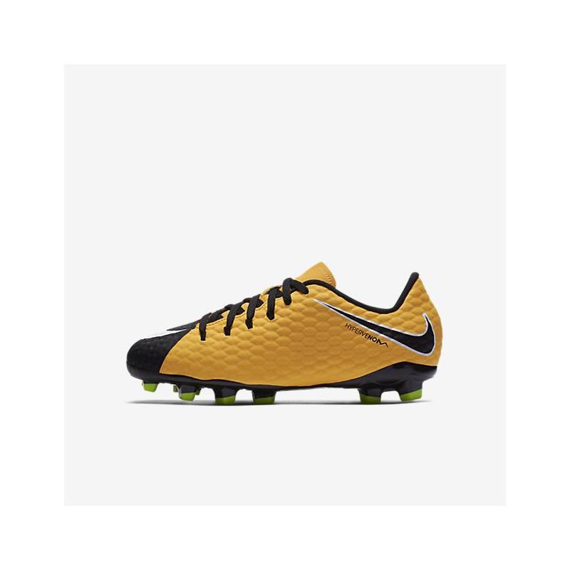 N0144 รองเท้าสตั๊ดเด็ก รองเท้าฟุตบอลเด็ก NIKE HYPERVENOM PHELON 3 FG Jr. - Orange/Black