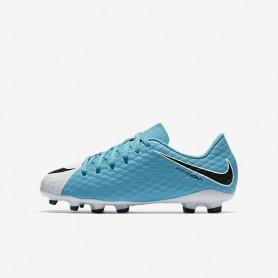 N0146 รองเท้าสตั๊ดเด็ก รองเท้าฟุตบอลเด็ก NIKE HYPERVENOM phelon 3 FG Jr. - white/photo-blue