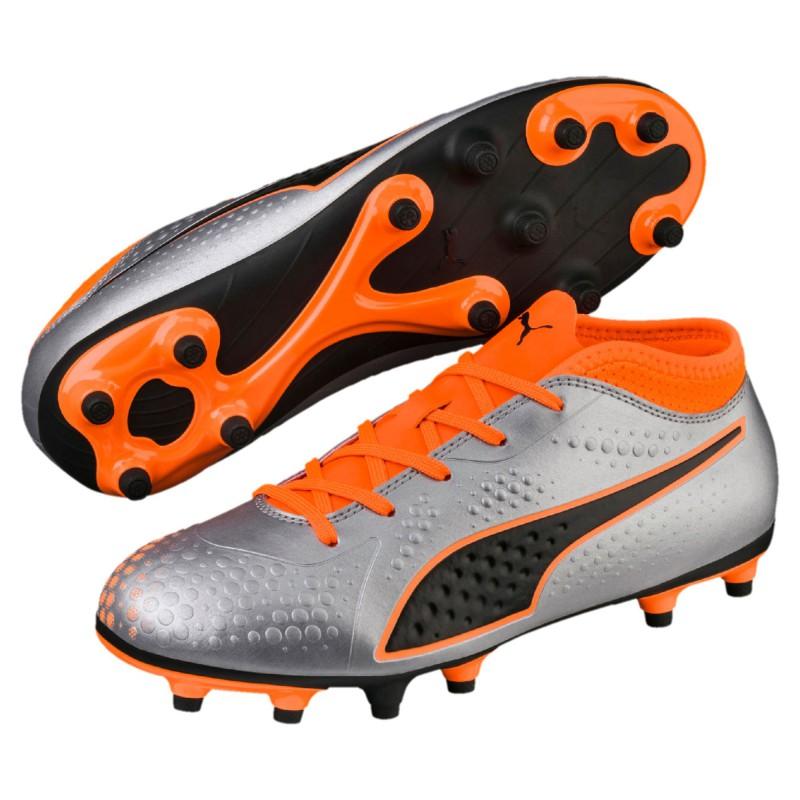 P1183 รองเท้าฟุตบอลเด็ก รองเท้าสตั๊ดเด็ก PUMA ONE 4 Synthetic FG JR.-Silver/Orange/Black