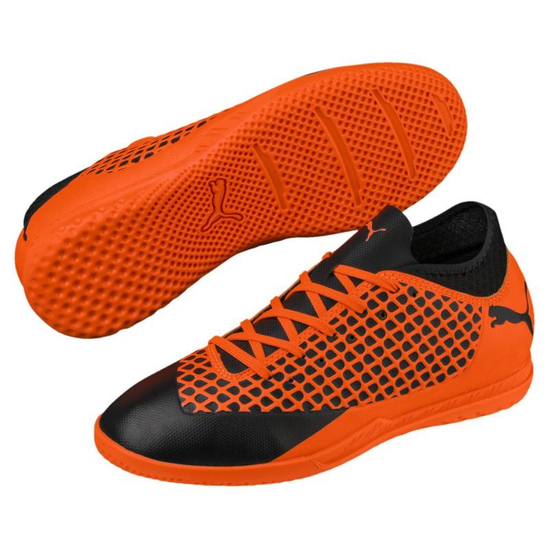P1185 รองเท้าฟุตซอลเด็ก Puma FUTURE 2.4 IT JR-Black/Orange