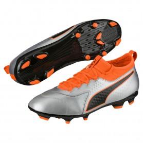P1186 รองเท้าฟุตบอล รองเท้าสตั๊ด PUMA ONE 3 Leather FG-Silver/Orange/Black