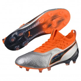 P1187 รองเท้าฟุตบอล รองเท้าสตั๊ด PUMA ONE 1 Leather FG-Silver/Orange/Black