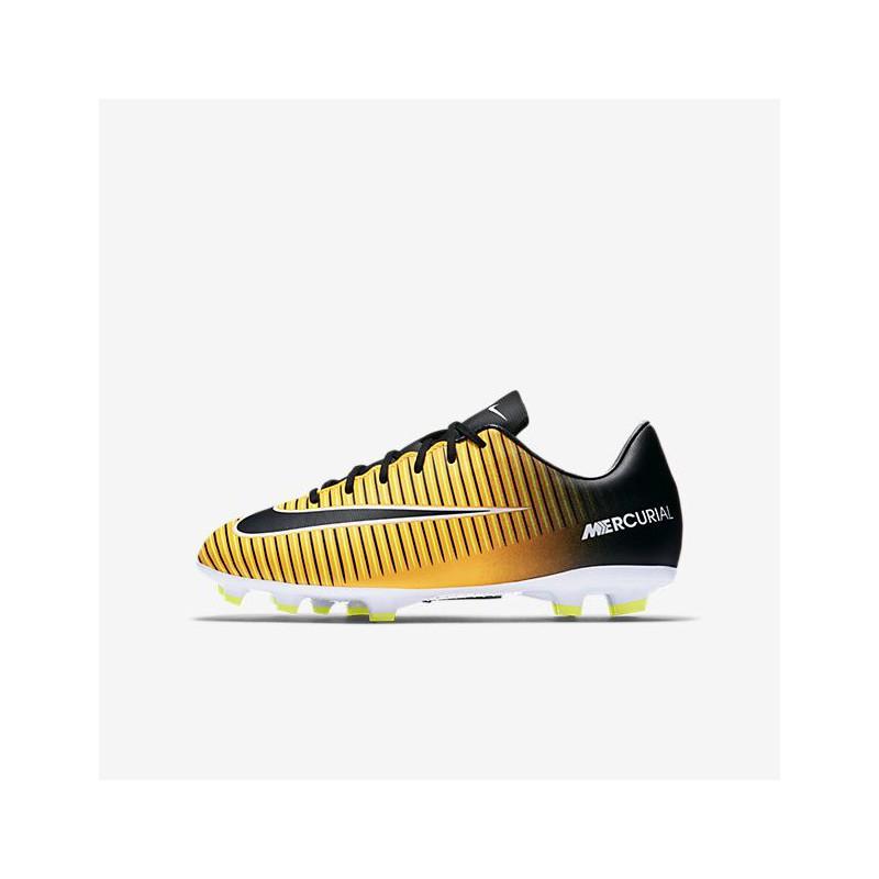 N0149 รองเท้าฟุตบอลเด็ก รองเท้าสตั๊ดเด็ก NIKE Mercurial Victory VI FG Jr. - Orange/Black