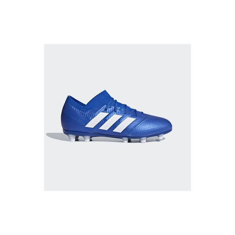 A1205 รองเท้าฟุตบอล รองเท้าสตั๊ดเด็ก ADIDAS Nemeziz 18.1 JR. FG-blue