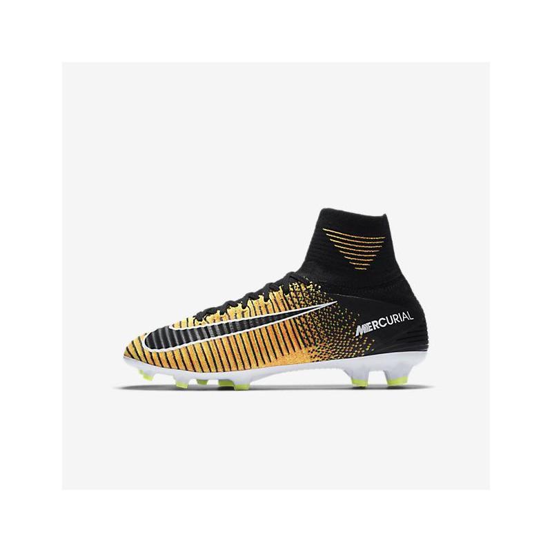 N0153 รองเท้าฟุตบอลเด็ก รองเท้าสตั๊ดเด็ก ตัวท็อปสุด NIKE Mercurial Superfly V Dynamic Fit FG Jr. - Yellow/Black