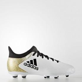 A0206 รองเท้าฟุตบอล รองเท้าสตั๊ดเด็ก ADIDAS X 16.3 FG J - White/Gold/Black