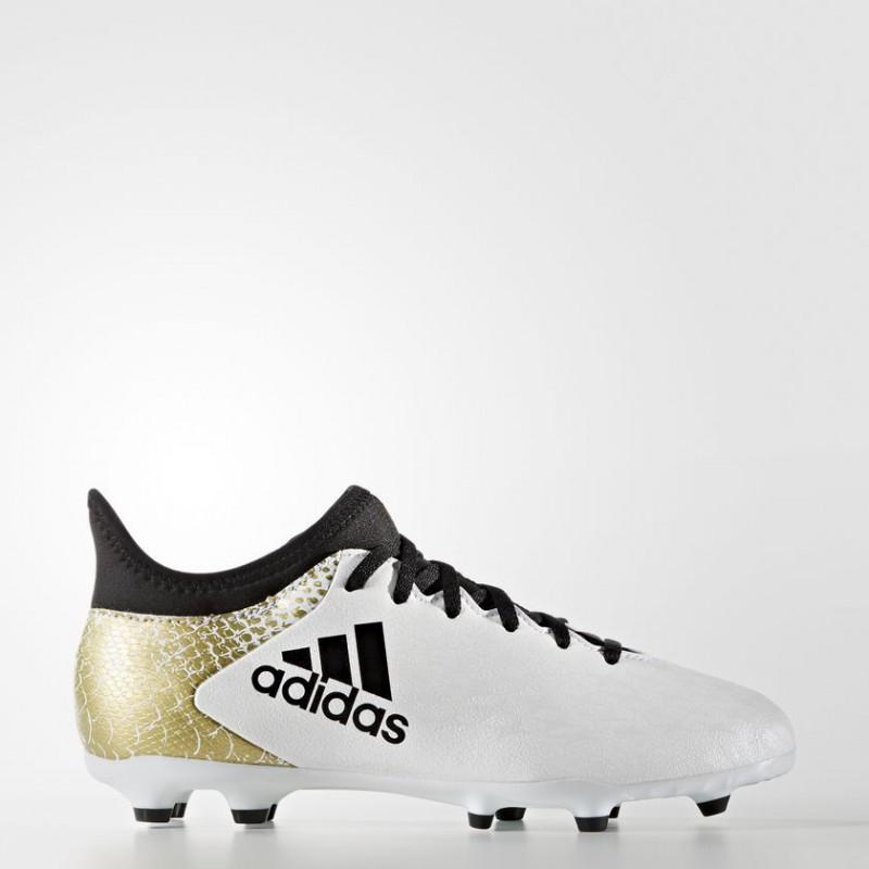 A0206 รองเท้าฟุตบอล รองเท้าสตั๊ดเด็ก ADIDAS ADIDAS X 16.3 FG J - White/Gold/Black