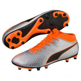 P1607 รองเท้าฟุตบอล รองเท้าสตั๊ด PUMA ONE 4 Synthetic FG-Silver/Orange/Black