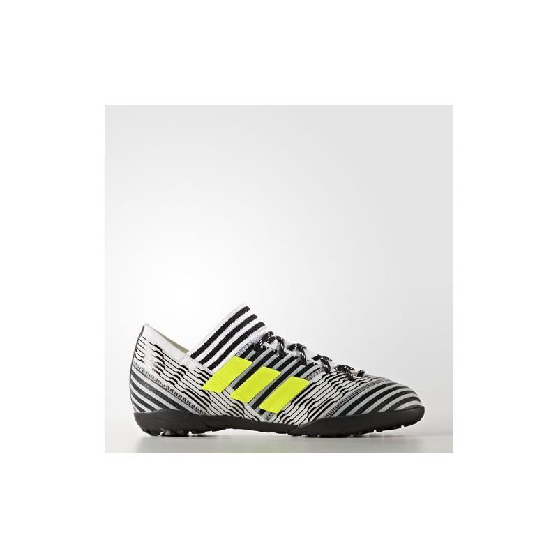 A0210 รองเท้าฟุตบอล 100 ปุ่มเด็ก สนามหญ้าเทียม ADIDAS NEMEZIZ TANGO 17.3 TURF Jr. - White/Solar Yellow