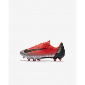 N1641 รองเท้าสตั๊ดเด็ก รองเท้าฟุตบอลเด็ก Nike Jr. Mercurial Vapor XII Academy CR7 MG -Bright Crimson/Chrome/Dark Grey/Black